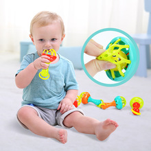 лучшая цена Baby Rattles Toy Intelligence Grasping Gums Plastic Hand Bell Rattle Funny Educational Mobiles Toys Birthday Gifts  Baby Rattle