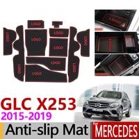 Anti Slip Gate Slot Mat Rubber for Mercedes Benz GLC X253 Accessories GLC 200 250 300 220d 250d 43 63 Coupe AMG 2016 2017 2018