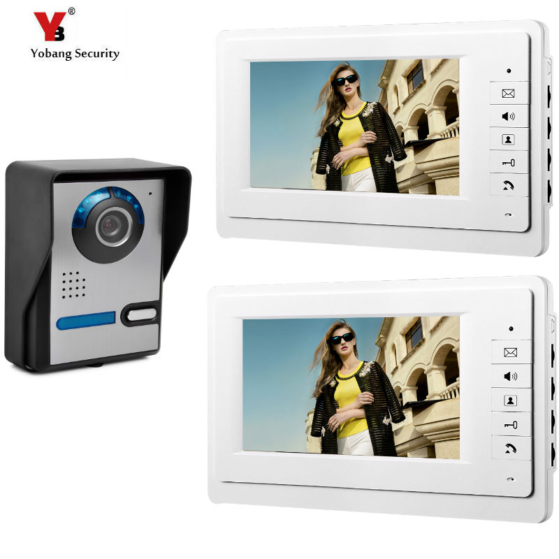 Yobang Security Home Security 7''Inch Monitor Wired Video Door Phone Doorbell Entry Intercom System2 Monitor 1 Camera Kit yobang security free ship 7 video doorbell camera video intercom system rainproof video door camera home security tft monitor