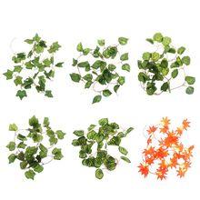 Artificial Plants For Reptile Case Simulation Lifelike Plant Vine Leaf Leaves Decor Ornaments Habitat Supplies With Suction Cup