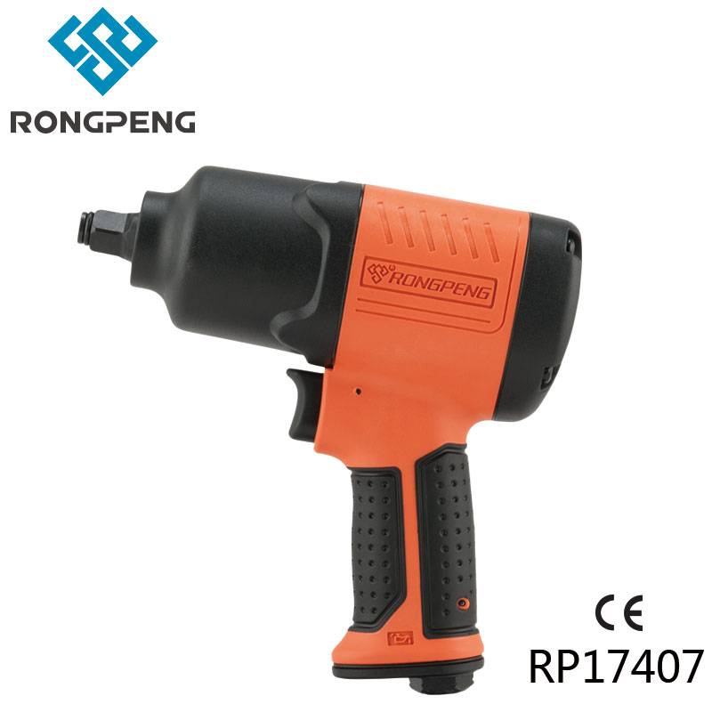 RONGPENG TWIN HAMMER COMPOSITE 1/2 PNEUMATIC IMPACT WRENCH RP17407 800N.M AIR TOOL SETS WITH 10PCS SOCKETS Pneumatic Air Wrench pneumatic impact wrench 1 2 pneumatic gun air pressure wrench tool torque 450ft lb