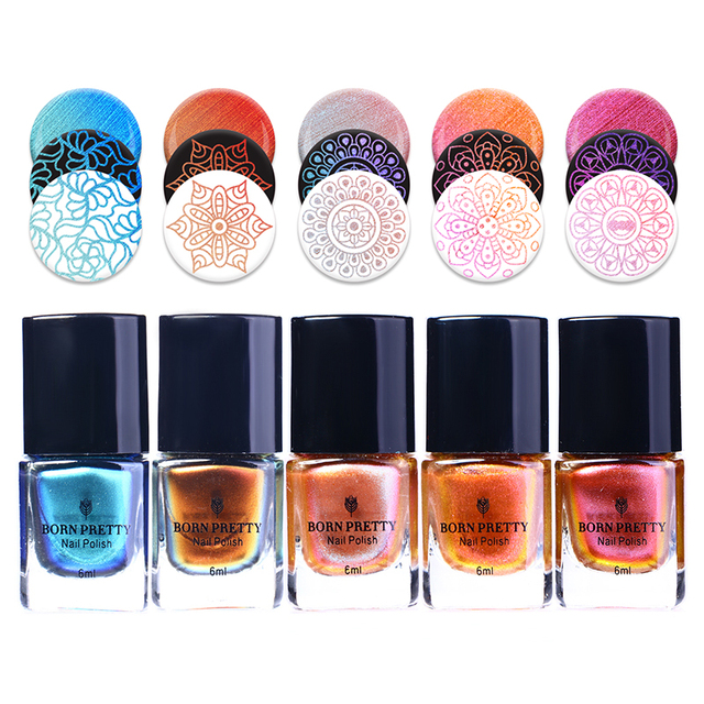 BORN PRETTY 6ml Rose Gold Chameleon Stamping Polish Colorful Manicure Nail  Art Plate Printing Nail Lacquer-in Nail Polish from Beauty & Health on