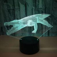 악어 3d 밤 램프 다채로운 터치 원격 제어 led 비주얼 데스크 램프 선물 분위기 작은 조명 테이블 램프