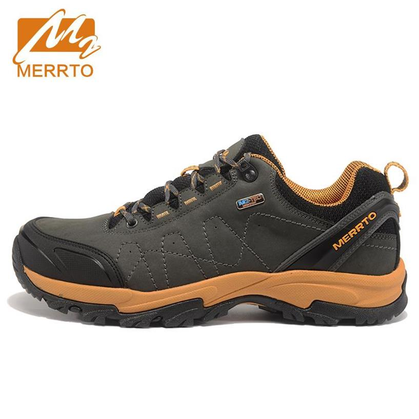 MERRTO Men's Winter & Autumn Sports Leather Outdoor Hiking Trekking Shoes Sneakers For Men Sport Climbing Mountain Shoes Man merrto men s spring and summer outdoor trekking hiking shoes sneakers for men mesh sports climbing mountain shoes man senderismo