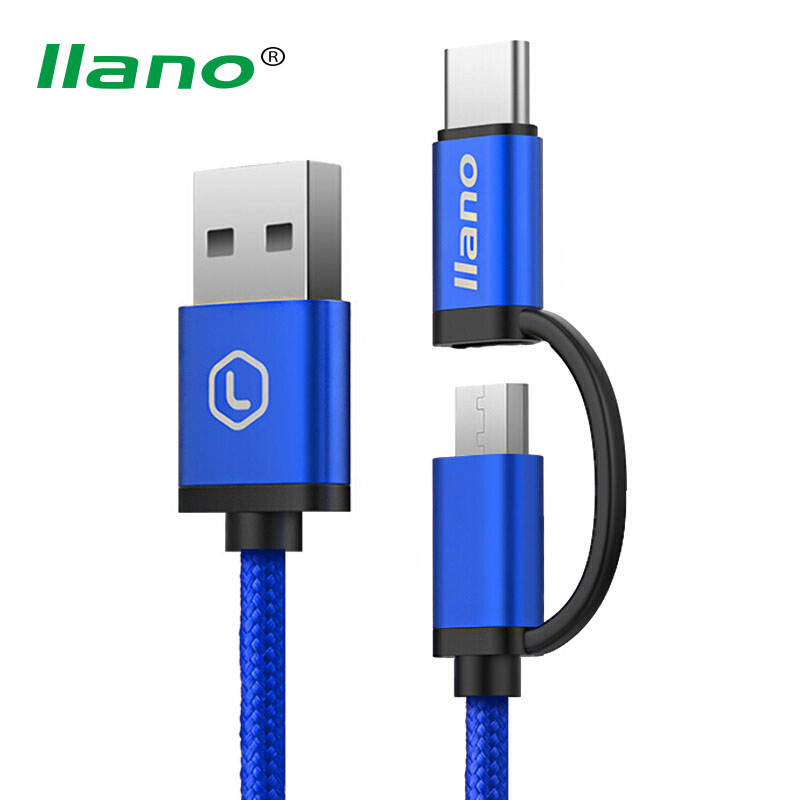 llano 2 in 1 USB Cable 3A Fast Micro USB Type C Charge Cable Code for Samsung Huawei Xiaomi Letv Macbook Nokia N1