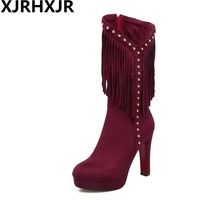 XJRHXJR Women High Heel Shoes Women Zipper Rivets Tassels Solid Color Heels Boots Ladies Daily Platform