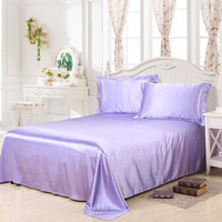 Court Style Bedding Flat Sheet ST10 Solid Silk like For Bedroom Dorm 230*250cm Bed Decorations Soft Mattress Protector Bedsheets