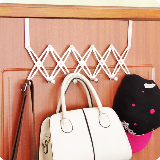 Retractable folding door hooks seamless stainless steel for Creative clothes hangers
