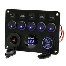 цена на Inline Fuse Box 5 Gang Blue LED Rocker Switch Panel Voltmeter Dual USB Charger Socket 12V 24V Vehicle Yacht Ship Car Boat Marine