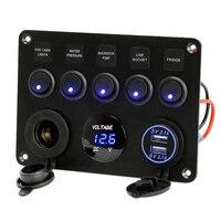 Inline Fuse Box 5 Gang Blue LED Rocker Switch Panel Voltmeter Dual USB Charger Socket 12V 24V Vehicle Yacht Ship Car Boat Marine