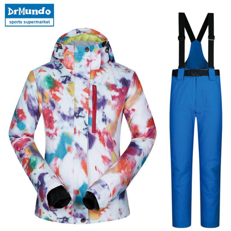2018 haute qualité Ski costume femmes coupe-vent imperméable respirant chaud Snowboard vestes et pantalons MHSJ hiver Ski veste femmes