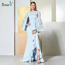 Dressv небесно-голубое вечернее платье с глубоким вырезом без рукавов с аппликацией в пол для свадебной вечеринки вечернее платье