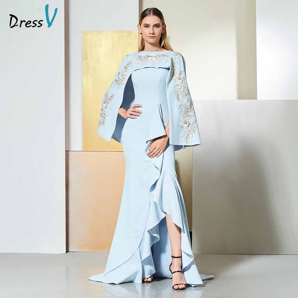 Dressv Sky Blue Evening Dress Scoop Neck Sleeveless Appliques Floor-length Wedding Party Formal Dress Trumpet Evening Dresses