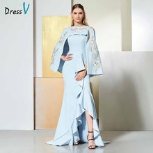 Dressv sky blue evening dress scoop neck sleeveless appliques floor-length wedding party formal trumpet dresses