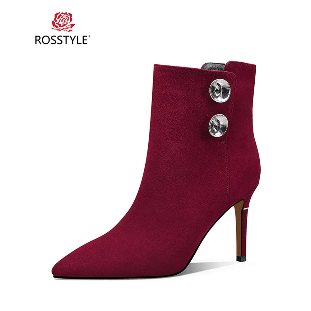 ROSSTYLE Fashion 2018 Winter Woman Ankle Boot Luxury Genuine Leather Warm Short Plush Inside Boot Elegant Office Lady Boots  B78ROSSTYLE Fashion 2018 Winter Woman Ankle Boot Luxury Genuine Leather Warm Short Plush Inside Boot Elegant Office Lady Boots  B78
