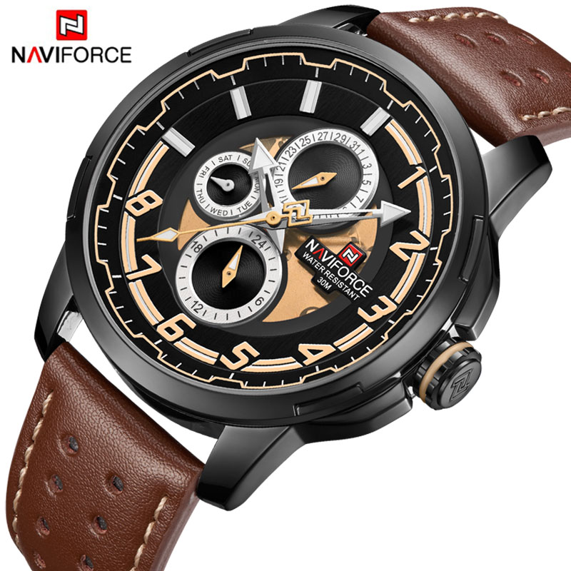 NAVIFORCE Relojes Hombre 2018 New Men Watches Top Brand Luxury Fashion Business Quartz Watch Men Military Sport Waterproof Clock hot 14 type entity zoo wild animal figure tiger leopard hippo lion kids toy lovely animal toys set kids gift decor toy