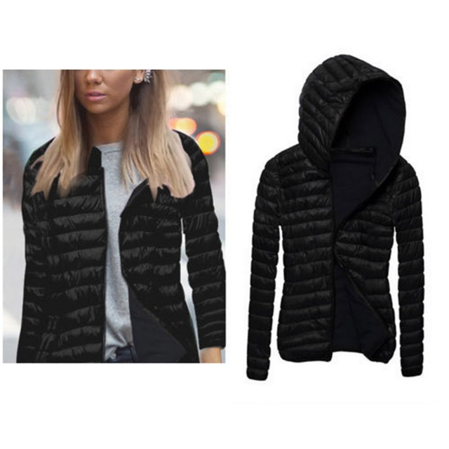 7dfe12d9c2b4 LITTHING Women Autumn Winter Jacket Hooded Coat Female Spring Jacket Womens  Padded Cotton Parkas Casual Thin Light Basic Jackets