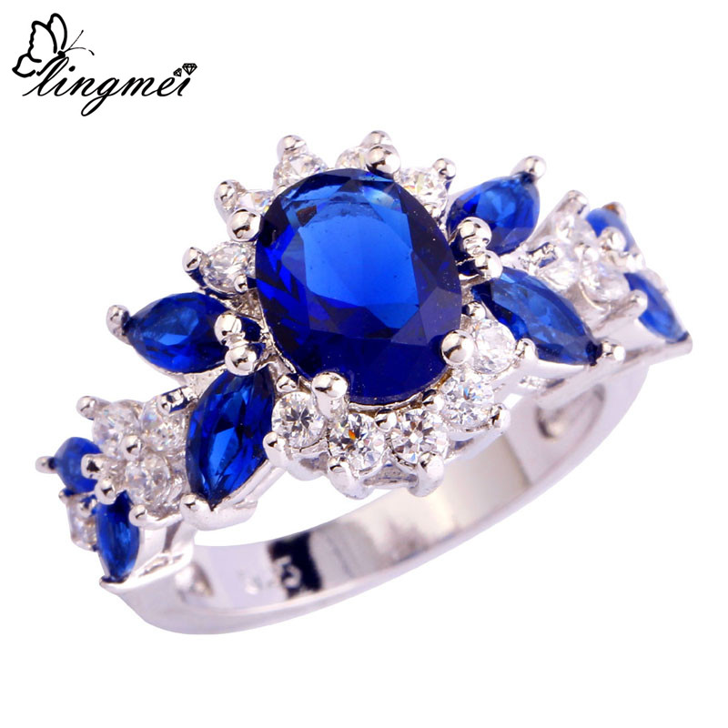 lingmei Wholesale Fashion Jewelry AAA Multi-Color Cubic Zirconia Silver Color Ring Size 6 7 8 9 10 For Unisex Rings