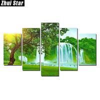 Zhui Star 5D DIY Full Square Diamond Painting Forest Waterfall Multi Picture Combination Embroidery Cross Stitch