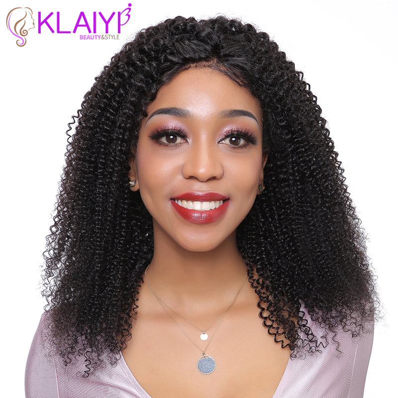 Klaiyi Human Hair Wigs Afro Kinky Curly Wig For Women 8-24 INCH Brazilian Remy Hair 13X4 Frontal Natural Hairline 150% Density