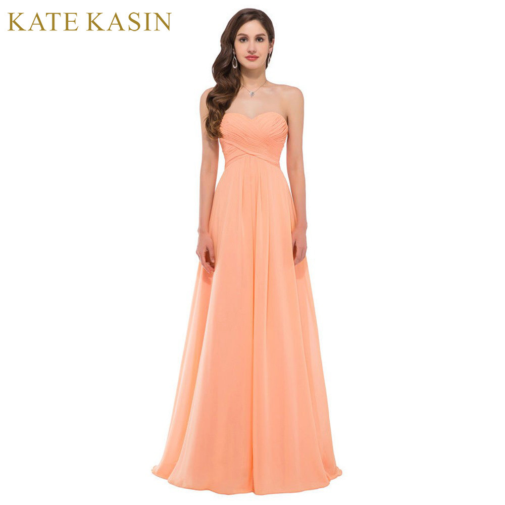 Elegant Strapless Chiffon Evening Dresses Long Formal Gown