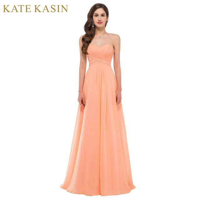 Elegant Strapless Chiffon Evening Dresses Long Formal Gown ...