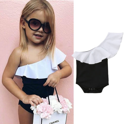 Cute Romper Jumpsuit Newborn Girls Ruffle One-Shoulder And Patchwork
