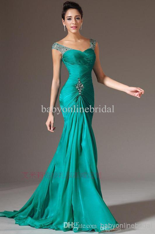 robe de soiree 2018 new fashion beading green long vestido de festa evening party gown elegant Mother of the Bride Dresses