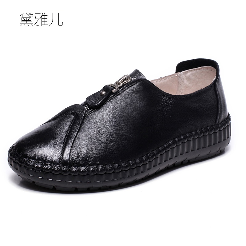 fd9393921b5 Fashion Genuine Leather Flat Black Shoes for Women Comfortable for Work  2018 Summer Ladies Spring Autumn Woman Flats Girl White