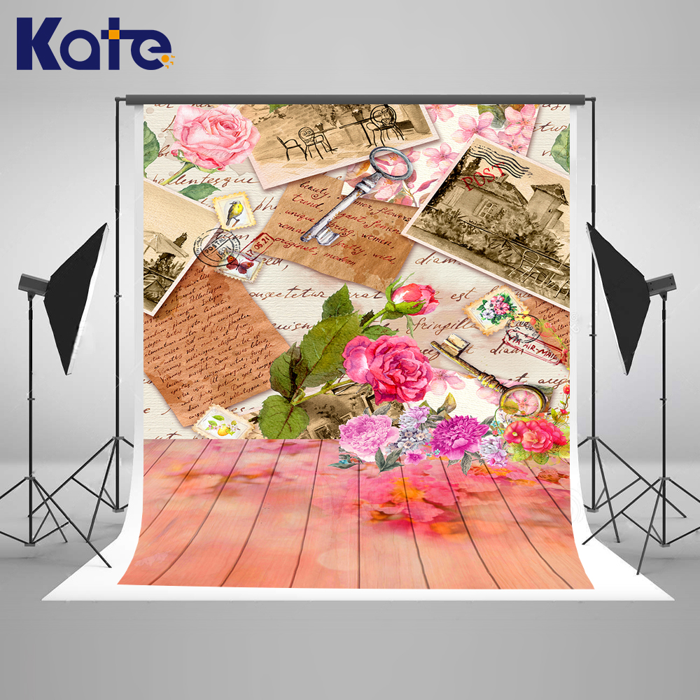 Kate 10X20FT Pink Father 's Day Photography Backdrops Letters Flower Old Photo Background Romantic For Family Party Backgrounds 8x10ft valentine s day photography pink love heart shape adult portrait backdrop d 7324