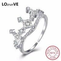 LOZRUNVE Original 925 Sterling Silver Jewelry Ladies Opening Australia Zirconia Princess Gift Wedding CROWN Ring Women