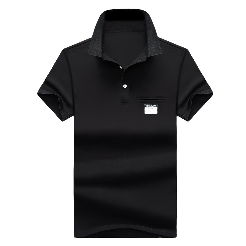 Mens Polo Shirt Summer Style Men Business Casual Solid Color Short Sleeve Polo Shirt Slim Cotton Polo Shirt Men Fake Pocket 24