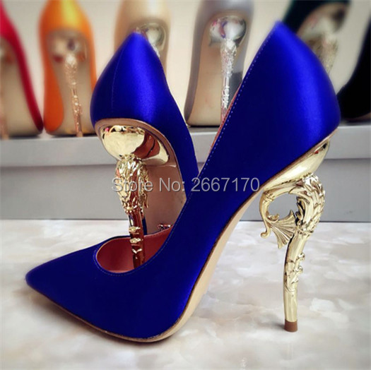 812f1684233e Zapatos Mujer 2018 Sexy High Heels Pointed Toe Metal Heel Princess Shoes  Eden Pumps Filigree Leaves