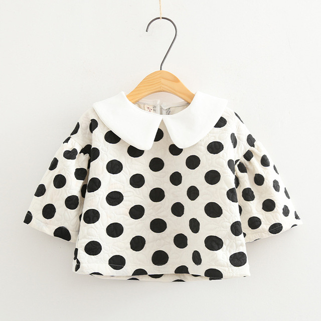 6679196ef 2017 resorte de las muchachas t shirt peter pan collar de manga larga de  punto camiseta de algodón blanco negro niños ocasional lindo ropa niños ...