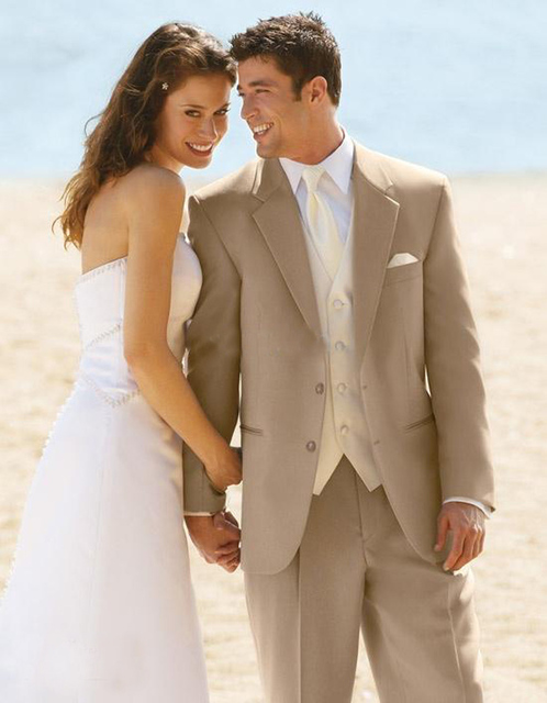 2016 New Hot Custom Made Groom Suit Tailored Tan Wedding Suits For Men Bespoke Champagne