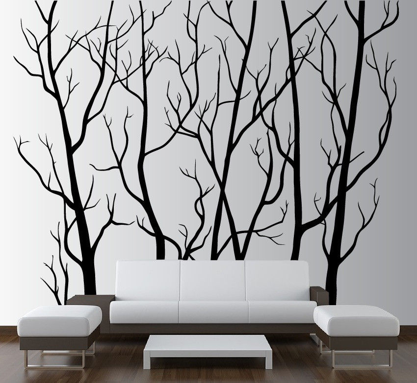 large wall art decor vinyl tree forest decal sticker nursery birch