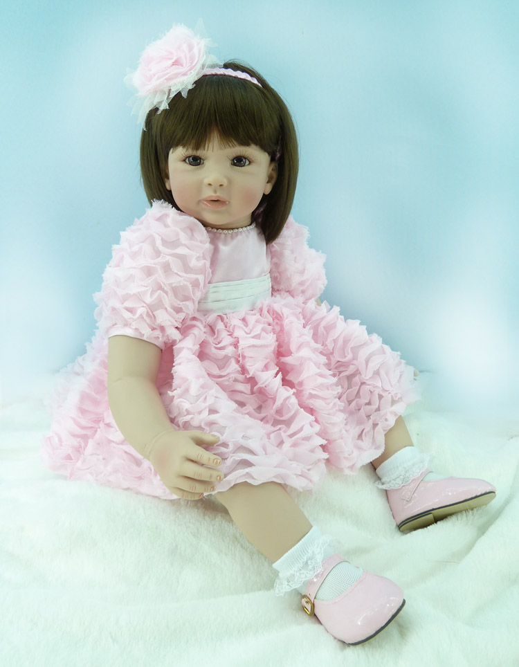 55cm Silicone Reborn Baby Doll Toys Vinyl Pink Princess Doll Girls Brinquedos Lovely Accompany Sleep Baby Doll Christmas Gift 55cm high quality reborn dolls baby simulation baby doll eyes will move to accompany sleep doll baby toys