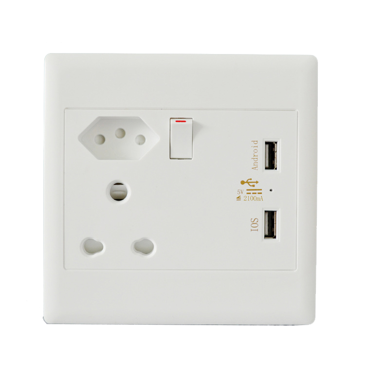 16A 2.1A USB Socket Panel South Africa Brazil India Power ...