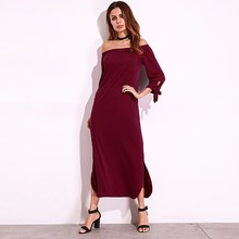ZANZEA Women Cold Off Shoulder Loose Split Casual Solid Sum mer Party Long Maxi Dress Shi rt Dress Kaftan Oversized Tops(China)