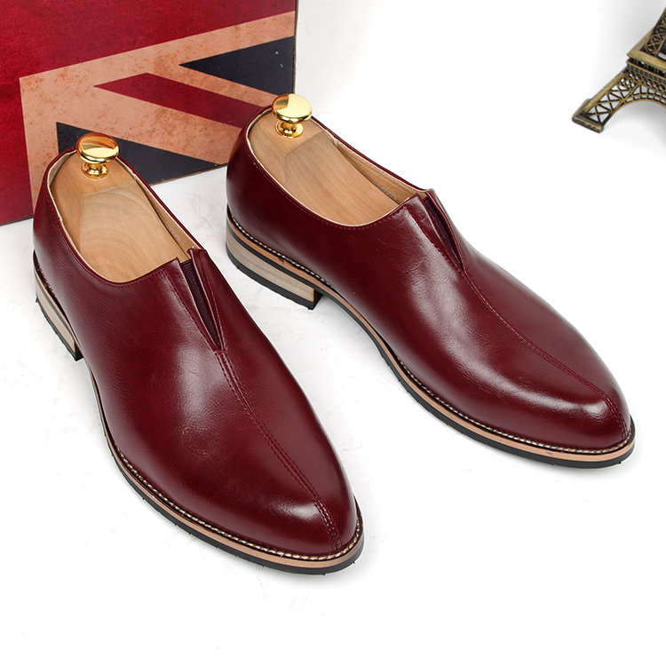 British casual men's wedding party design cow leather shoes solid breathable point toe slip-on oxfords shoe Mocasines Hombre man