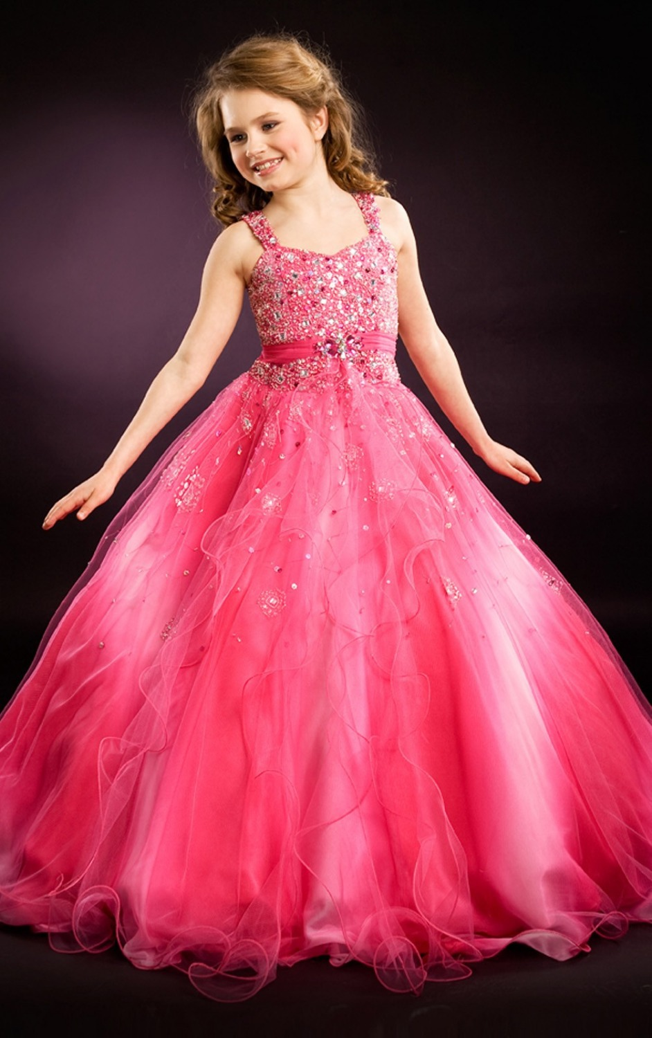 2017 Children Glitz Girls Pageant Dresses Beading Princess Blush Floor Length Girls Pageant Dresses For Kids