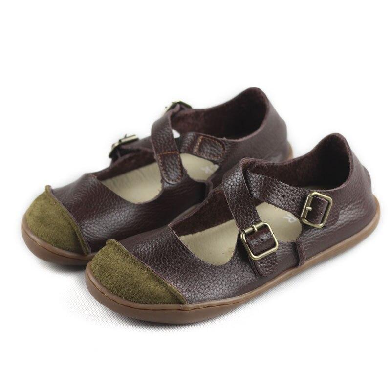 (35-46) ballerines femmes pieds nus chaussures plates femmes en cuir véritable boucle sangle dames chaussures semelles plates chaussures de conduite
