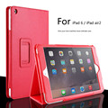For Apple ipad Air 2 II Magnetic Open Close Wake Up Sleep Flip Litchi Leather Case For New ipad 6 Cover with Smart Stand Holder