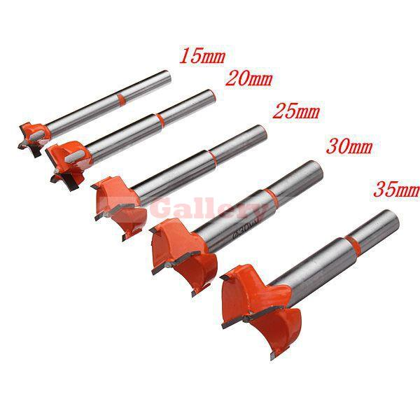 Drill Bit Power Tool 5pcs Forstner Tip Hinge Boring Wood Hole Saw Set Alloy 15-35mm Drill Bit Set 5pcs set 85mm forstner wood drill bit set 15 20 25 30 35mm hole saw cutter wood tools with round shank core drill bit