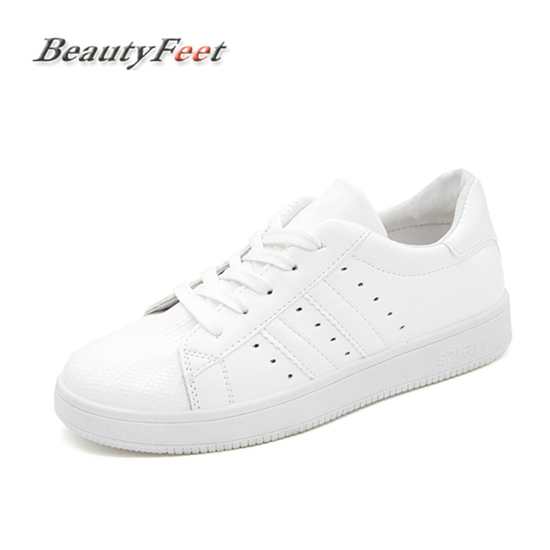 Fashion White Platform Sneakers Women Shoes Woman Lace Up Flat with Vulcanized Shoes Female Heart Print Casual Shoes BeautyFeet