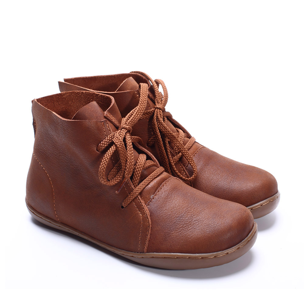 YAERNI (35 42) botas de tobillo de mujer hechas a mano de cuero genuino botas de mujer primavera otoño zapatos cuadrados con cordones calzado de mujer-in Botas hasta el tobillo from zapatos    2