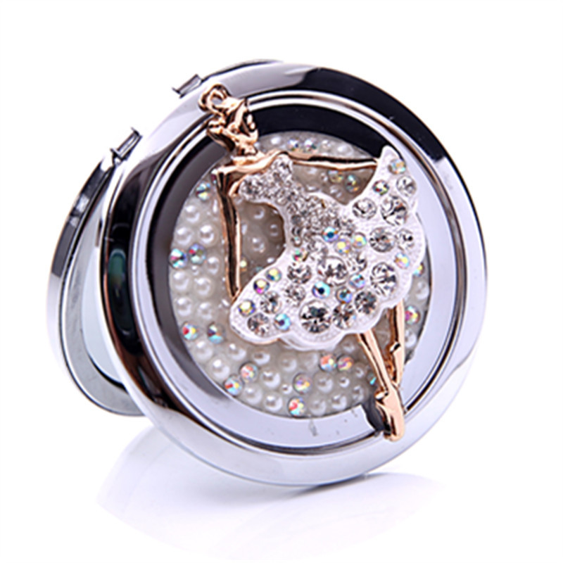 Crystal Cute Girl Pocket Mirror Sex Products Stainless Frame Hand Mirror Compact -9855