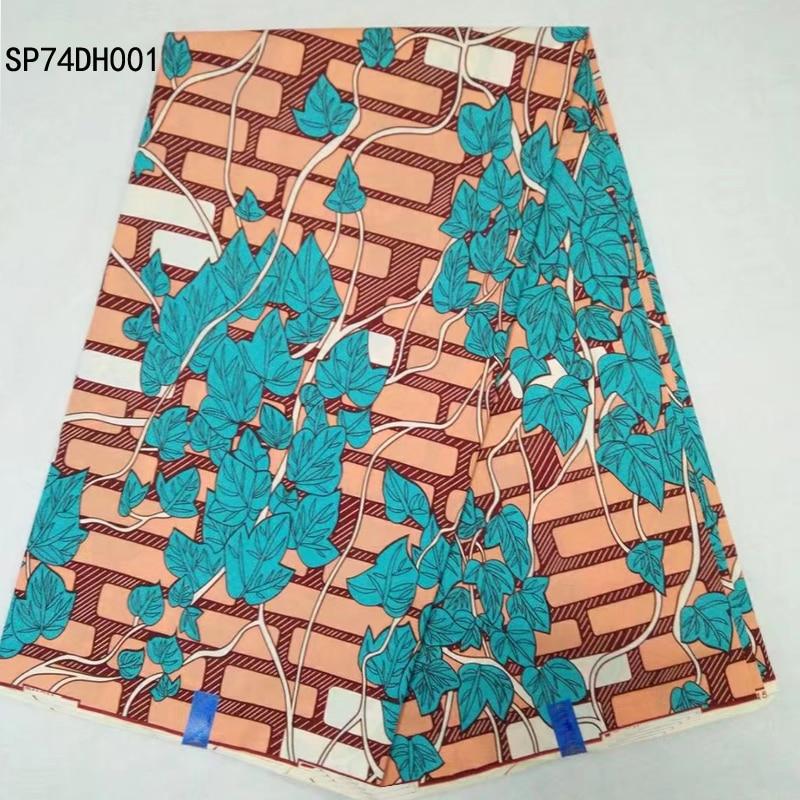 High quality real wax african wax prints fabric for wedding party dress,6 yard Blue Leaf Design ankara wax fabric for sewing