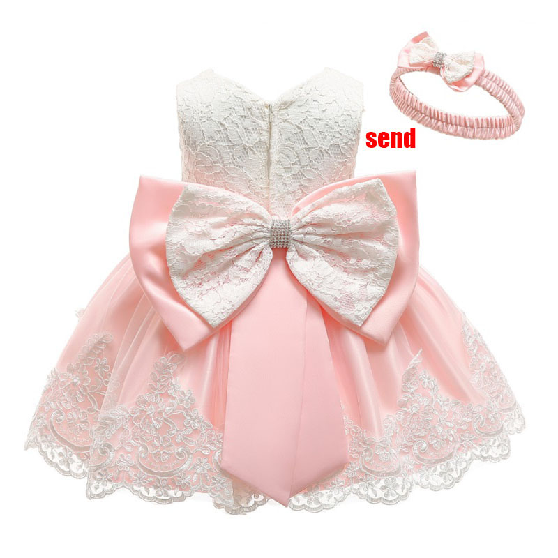 New big bow   flower     girl     dress   newborn baby   dress     girl   princess ball gown fluffy costume first communion   dresses   baptism vestido