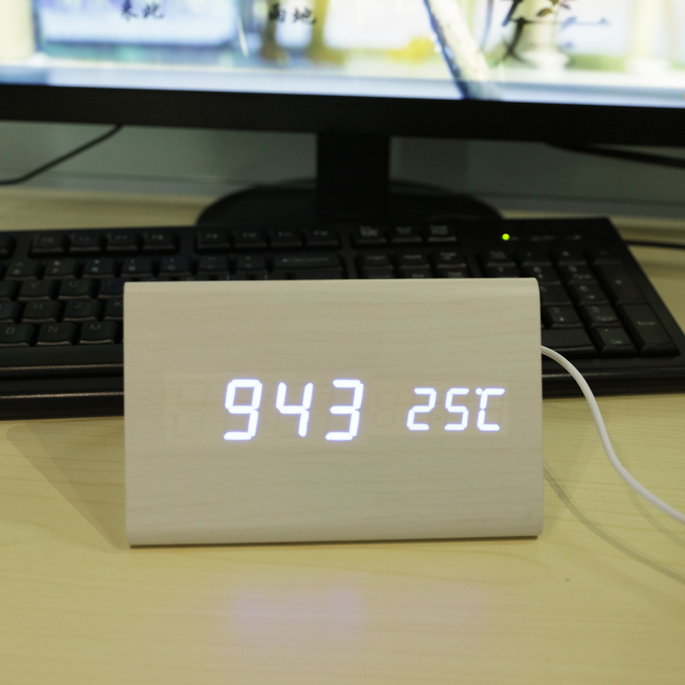 Sounds Control Digital Clock Student Desk Home Decor Gift Digital Clock Bamboo & Wooden Alarm Clock Calendar Thermometer LED